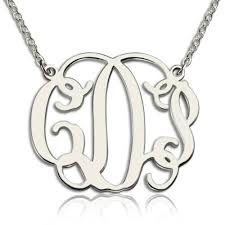 silver monogram necklace personalized monogram necklace sterling silver