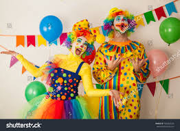 two cheerful clowns birthday children bright stock photo two cheerful clowns birthday children bright stock photo 742263529