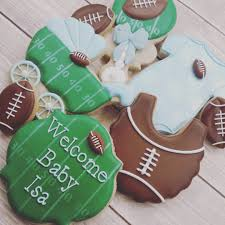 football baby shower football themed baby shower cookies i the rattle by