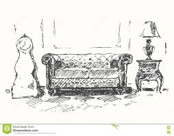 Couch Drawing Cozy Room Sofa Drawn Vector Illustration Sketch Stock Vector