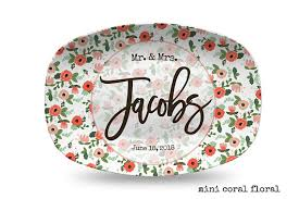 engraved platter wedding gift mini coral floral flowers with circle personalized platter wedding