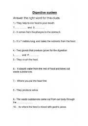 english worksheets digestive system