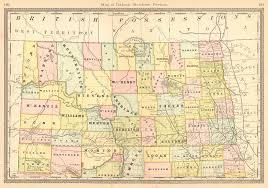 Map Of Nd Maps Antique United States Us States North Dakota
