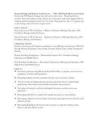 Biology Resume Muehl Biology Resume