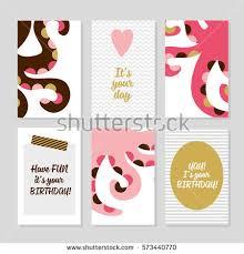 set birthday greeting cards design stock vector 552436606