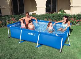 Intex Metal Frame Swimming Pools Rectangular Metal Frame Swimming Pool For Small Family 260 160