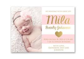 birth announcements pink and gold baby girl birth announcement card digital