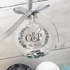 personalised initial and wedding date christmas bauble by sweetpea