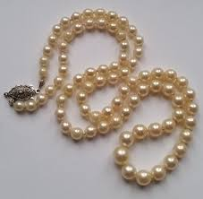 pearl setting necklace images Antique akoya salt water pearl necklace with 585 white gold clasp jpg