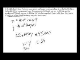linear programming word problem setup youtube
