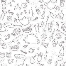 Kitchen Background Food And Drink Outline Seamless Pattern Hand Drawn Kitchen