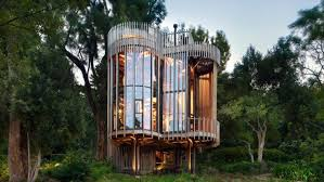 unique treehouse residence made of four towers digsdigs