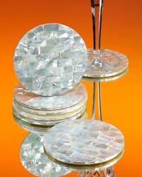 Beverage Coasters Amazon Com Ocean White Mother Of Pearl Circular Beverage