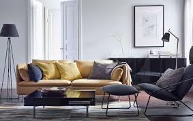 ikea livingroom furniture moderná obývacia izba so žltou pohovkou söderhamn kreslom a