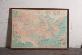 United States Map Art by Large Vintage Framed United States Map Omero Home