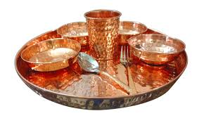 asiacraft pure copper dinner set thali plate with bowl glass