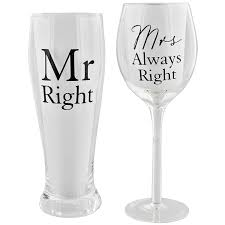 wine glass gift mr right and mrs always right by pint