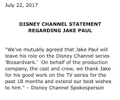 jake paul parts ways with disney