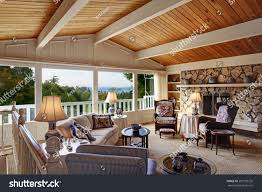 old fashion living room vaulted wood stock photo 203139739