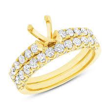 yellow gold wedding sets yellow gold semi mount bridal wedding set diamond engagement ring