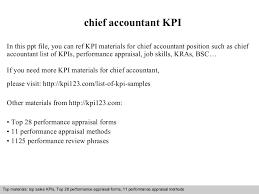 chief accountant kpi