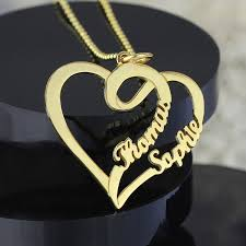 wholesale love necklace images Wholesale personalized love necklace with two hearts and names jpg