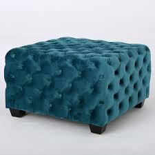 Button Tufted Ottoman Furniture Organization Teal Velvet Upholstred Button