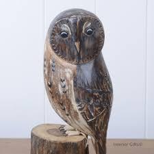 archipelago owl d223 on tree stump bird wood carving