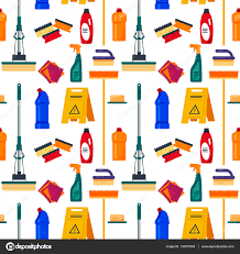 cleaning service seamless pattern house tools flat vector