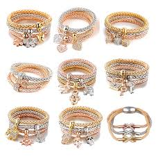 bracelet elastic heart images 3 pcs set new crystal butterfly heart lock key shape pendant jpg