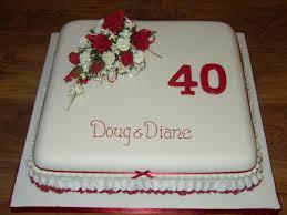 Wedding Anniversary Cakes 40th Wedding Anniversary Cake With Red Rose Flower Spray Susie U0027s