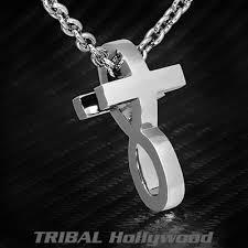 ecks 2 in 1 infinity symbol modern cross silver necklace