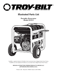 troy bilt model 01919 user manual 6 pages