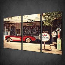 Bedroom Wall Panels Uk Retro Vintage Petrol Station Car 3 Panels Canvas Print Wall Art