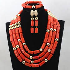 bridal beads necklace images Fashion red long design african coral beads jewelry sets indian jpg