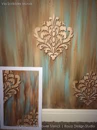 wall stencil ornamental flower wall stencil royal design