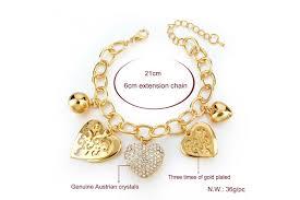 link bracelet with heart images Heart soul austrian crystal chain link charm bracelet gold jpg