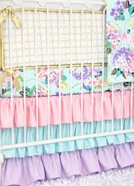 girls frilly bedding holly u0027s hydrangea ruffle baby bedding caden lane