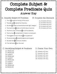 and predicate test 2 page complete subject and complete predicate