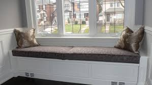 dark grey rectangular window seat cushions with vintage pattern