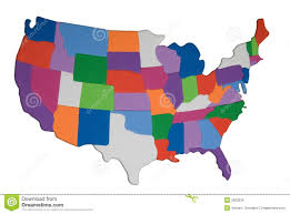United States Time Zone Map by Usa Map Outline With Colored States Photo Illustration Royalty