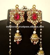 jhumka earrings with chain wholesale fashion wear kundan jhumka earring indian antique gold