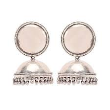jhumka earrings antique plain silver big jhumka earrings by missori in traditional