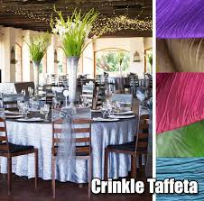 linens for rent crinkle taffeta tablecloths overlays table runners chair covers