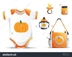 halloween pumpkin bag halloween baby items including onesie cup stock illustration
