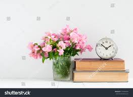 retro home decor stack books flowers stock photo 193996634