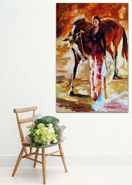 aliexpress com buy woman rider with red horse 100 handpainted