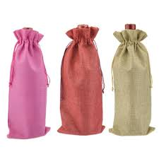 burlap drawstring bags hessian burlap jute wine bottle drawstring bag burgundy chagne