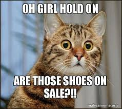 oh girl hold on are those shoes on sale surprised cat make