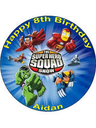 marvel cake toppers 7 5 circle marvel squad superheroes personalised edible